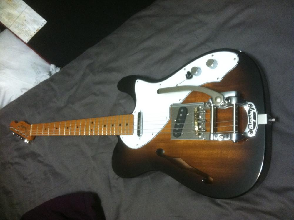 built this from parts mim 39 69 thinline telecaster 2tsb mahogany with custom stop texas special. Black Bedroom Furniture Sets. Home Design Ideas